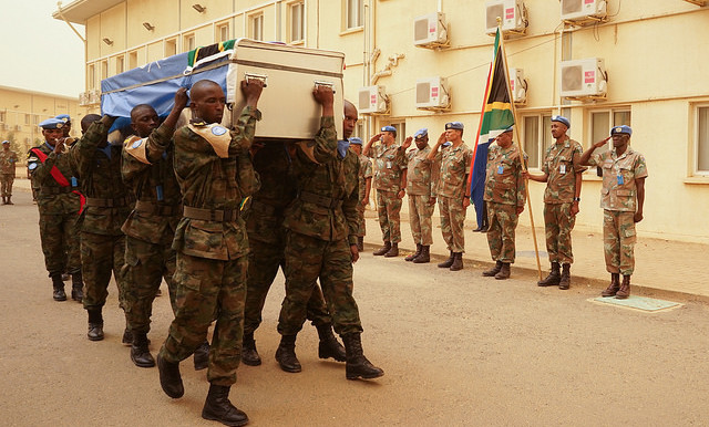 On 13 March, members of Unamid pay their last respects to the South African peacekeeper who was killed last week in North Darfur (Arie Cahyadi Santoso/Unamid)