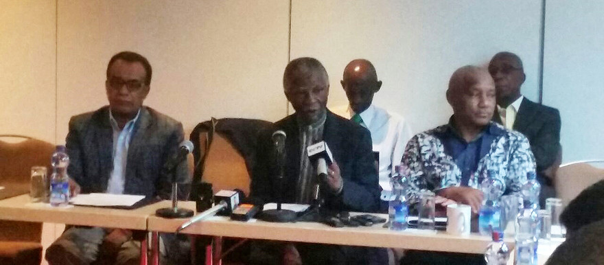 Chief AU mediator Thabo Mbeki (C) at the strategic consultation meeting with the Sudanese government, the holdout armed movements, and the Umma Party in Addis Ababa on 20 March (RD)