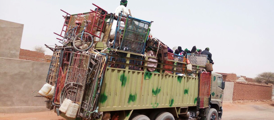 One of the lorries allegedly used to transport 'foreign settlers' to resettle parts of Darfur (Radio Dabanga correspondent)