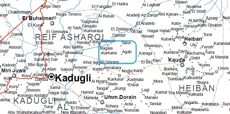 Fighting is ongoing in the area of Karkaia and Agab in the Nuba Mountains, 29 March 2016 (OCHA map of South Kordofan)
