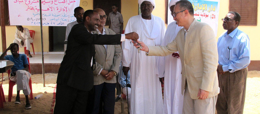 Unamid Chief of Civil Affairs Section, Guang Cong at the handover of the newly constructed native administration building in North Darfur's capital El Fasher on 27 March 2016 (Salah Mohamed/Unamid)