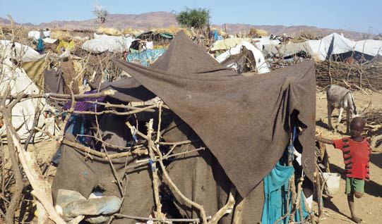 Shelters of the newly displaced in Sortony, North Darfur (OCHA, 2016)