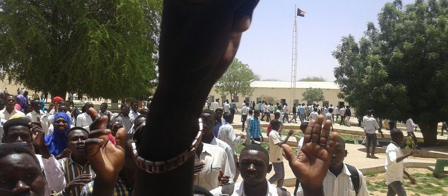 El Fasher student demonstration against the holding of the Darfur referendum on the first day of the voting, Monday 11 April 2016. It was eventually dispersed by policemen and security agents using teargas (RD)