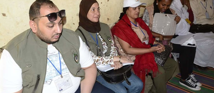 Observers from the Arab League in one of the polling stations in Darfur on Monday 11 April 2016 (SUNA)