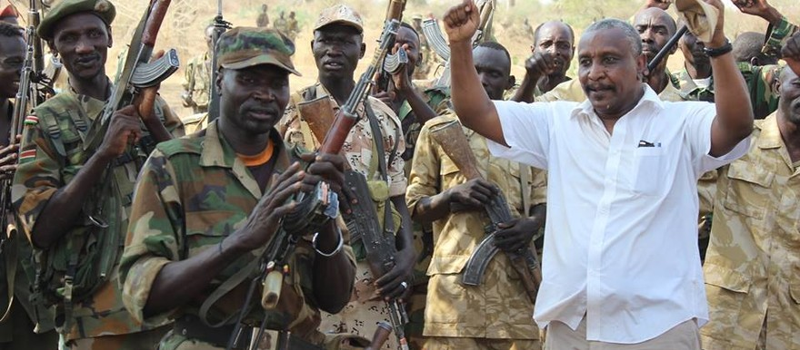 File photo: The Secretary-General of the Sudan People's Liberation Movement-North (SPLM-N), Yasir Arman (in white shirt), visits his Movement's troops in the Nuba Mountains.