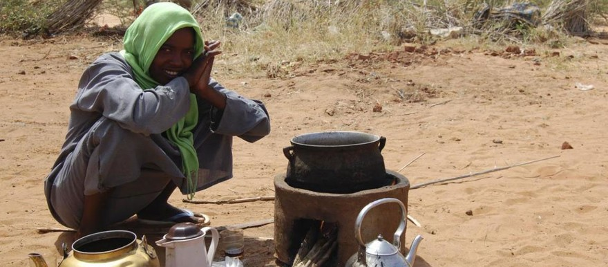 Cooking a meal with firewood in Sudan (Pia Skjelstad/WFP)