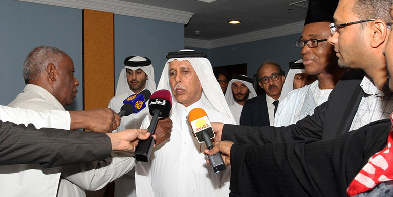 The Deputy Prime Minister and Minister of State for Cabinet Affairs of Qatar, Ahmed bin Abdullah Al Mahmoud, speaks to reporters at the conclusion of the meeting this morning
