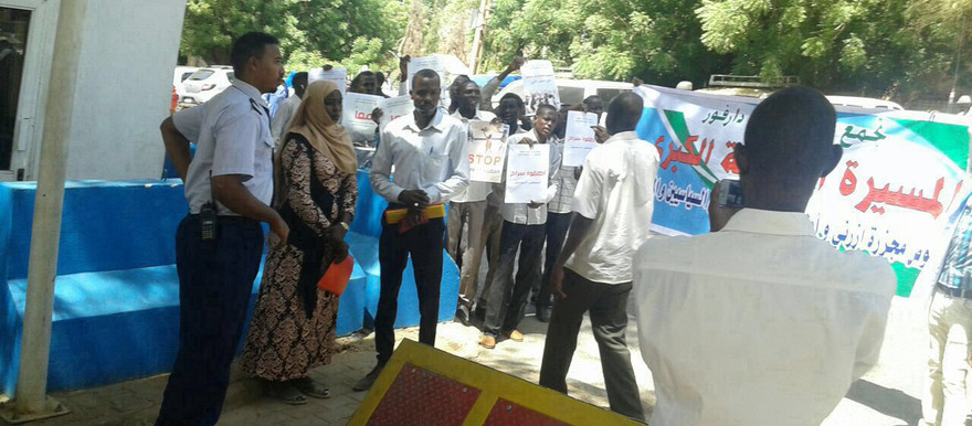 Students hand a memorandum to the office of the United Nations in Khartoum