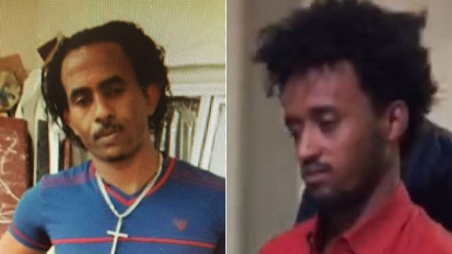 Left: An image of the man believed to be Mered Medhanie previously released by the UK National Crime Agency; Right: the man extradited to Italy (NCA/Polizia di Stato)