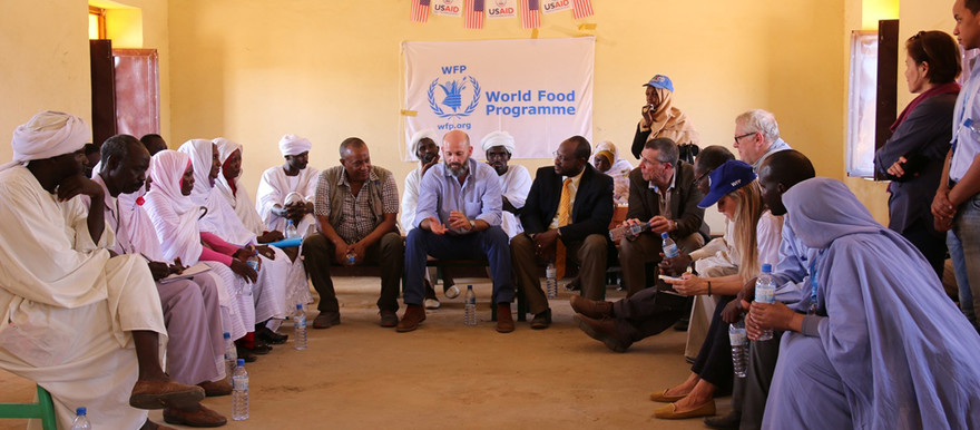 A delegation from the United States Embassy, led by Chargé d'Affaires ad interim Ervin Massinga and the Sudan Mission Director for the United States Agency for International Development (USAID), Dr Jeffrey Ashley, meet with representatives of local government, social society and the displaced in Darfur this week. (picture supplied)