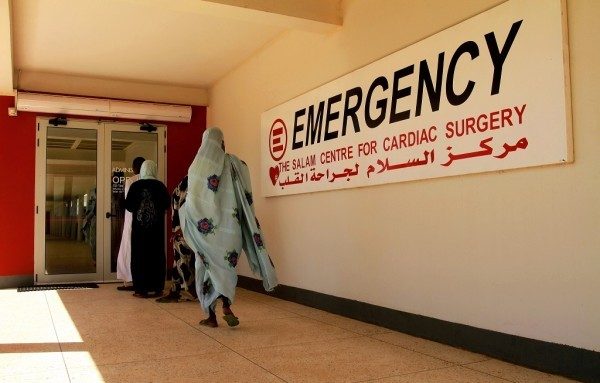 People walk towards a cardiac surgery emergeny room in Khartoum (Ashraf)