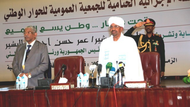 President Omar Al Bashir chairing the National Dialogue session in Khartoum on 9 October 2016 (Suna)