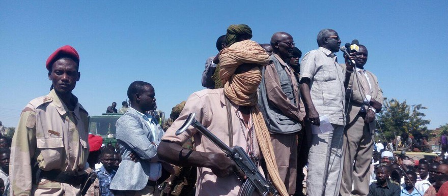 Defected SLM-AW rebels during the speech of Governor Jaafar Abdelhakam in Zalingei, after the signing of the Korona peace agreement on 6 November (RD)