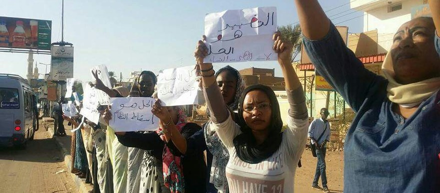 Activists of No to Women Oppression Initiative hold banners during a demonstration at Shambat street in Khartoum on 29 November, before being dispersed by riot police (photos from social media)