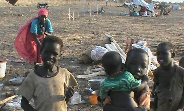 Sudanese refugees from Blue Nile who have now fled violence in Doro Camp in South Sudan and are living rough (see more pictures below)