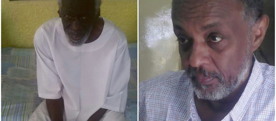 Siddig Yousef and Mohamed Diaeldin, both NCF leaders, after their release from detention on 11 January 2017 (social media)