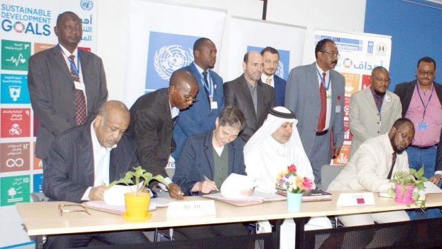 UNDP and Qatari organisations sign an agreement to fund the demobilisation of 1,400 Darfuri former combatants, 16 Feb. 2017 (SUNA)