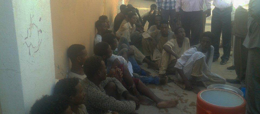 Some of the men who were freed from traffickers in Kassala on Tuesday (more pictures below)