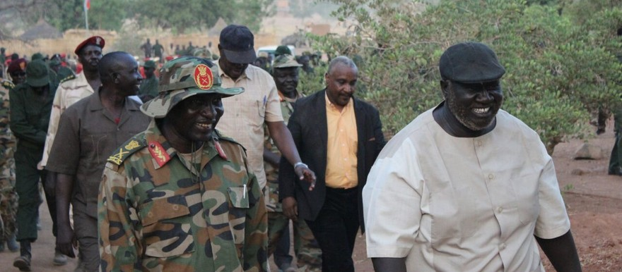 Chairman of the rebel SPLM-N, Malik Agar, speaks to his military commanders in the Nuba Mountains (SPLM-N)