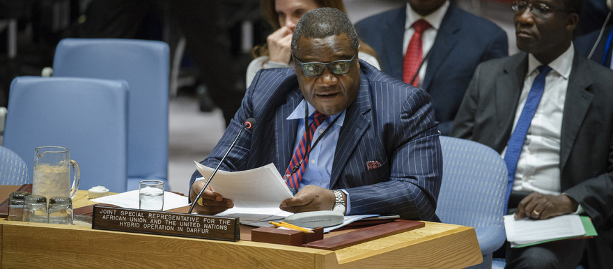 Unamid Joint Special Representative, Kingsley Mamabolo, briefs the Security Council in New York, 04 April 2017 (Photo: Manuel Elias / UN)