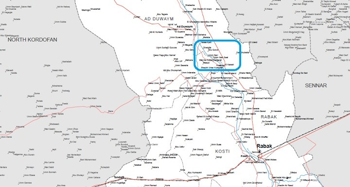 The area of Um Jar (Umm Garr) (UN OCHA map of White Nile state)