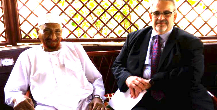 National Umma Party leader, Imam El Sadig El Mahdi, with Paul Stephen, the Director of the Office of the US Envoy at a meeting between the Sudan Call forces and a US delegation in Khartoum yesterday.