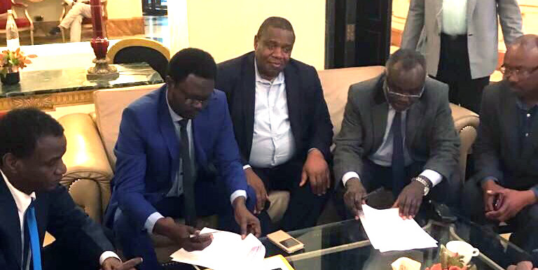 Joint Special Representative for Darfur and head of Unamid, Jeremiah Mamabolo (centre) met with JEM leader Dr Jibril Ibrahim (centre-right) and SLM-MM leader Arko Minni Minawi (centre left) in Paris on Tuesday