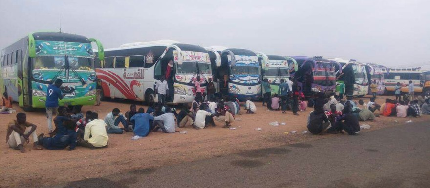 Darfuri students who resigned from Bakht El Rida University and travelled back to Darfur in buses, are halted at the gates of El Fasher on Monday 24 July (RD)