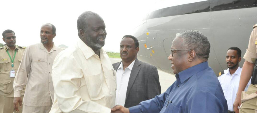 Sudan's Vice President, Hassabo Abdulrahman is greeted by West Darfur Governor on arrival in El Geneina
