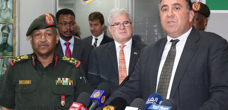 The Chairman of Sudan's Joint Chiefs of Staff, General Emad Edeen Mustafa Adawi (l), met today with the Deputy to the Commander for Civil-Military Engagement, United States Africa Command (AFRICOM) Alexander Laskaris (r) in the presence of the US Charge d' Affaires (c) in Khartoum (Picture: SUNA)