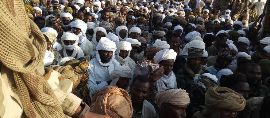 Members of the Border Guards militia meet in Mistareeha in North Darfur on 12 August, 2017 (RAC)