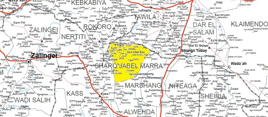 East Jebel Marra locality in South Darfur (UN OCHA map of Darfur)