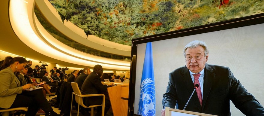 UN Secretary-General Antonio Guterres addressing the United Nations Human Rights Council 36th session in Geneva (AFP/Getty Images)
