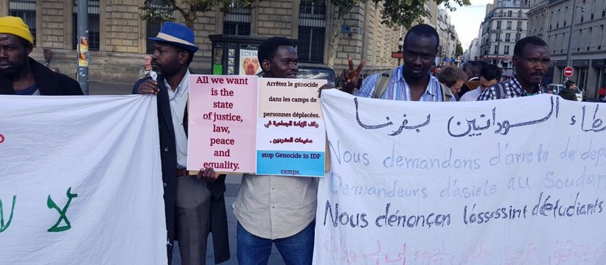 Demonstration in Paris on 30 September 2017 against the deadly incidents in Kalma camp, and the death sentence against student Asim Omar (RD)