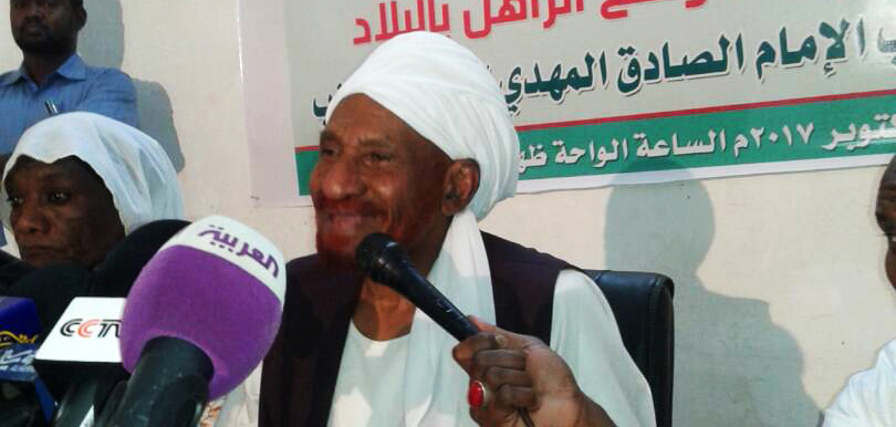 NUP President El Sadig El Mahdi addresses a press conference in Omdurman on Monday (RD Correspondent)