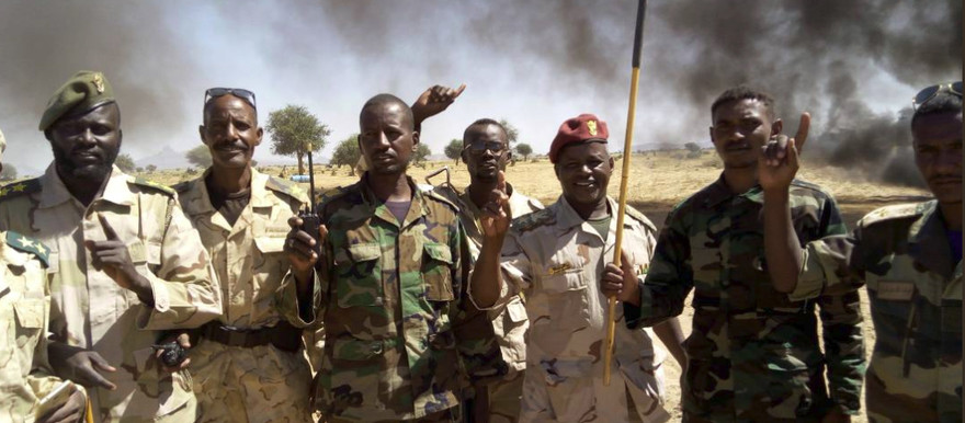 RSF officers after a raid to collect arms, weapons at Jebel Amer gold mine in North Darfur (RSF)