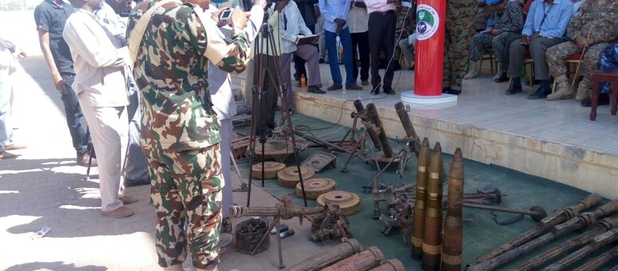 Collected weapons presented during a conference in Darfur in November 2017 (RD)