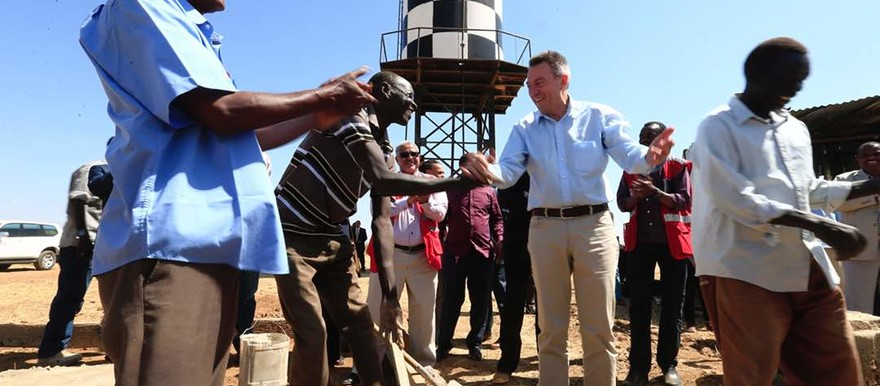 Red Cross President Peter Maurer visits Kadugli in January, for the opening of an ICRC-repaired water point (ICRC)