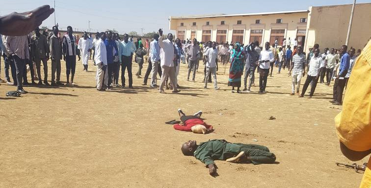 The Sudanese soldier and one of his victims, moments after he committed suicide at the campus grounds of the Delling University in South Kordofan, 10 January 2018 (RD)