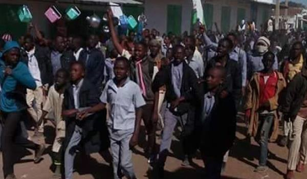 School students protest against price increases in Nyala, Darfur, on January 15 (RD)