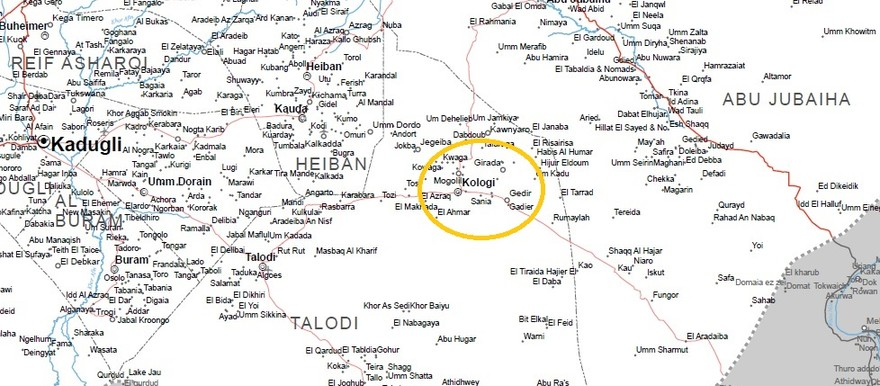 Kologi in the Nuba Mountains (OCHA map of South Kordofan).