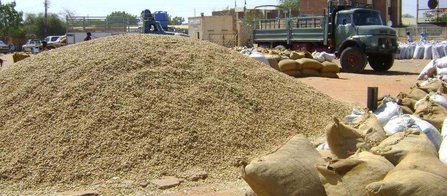 A pile of sorghum in Nyala market, South Darfur (file photo)