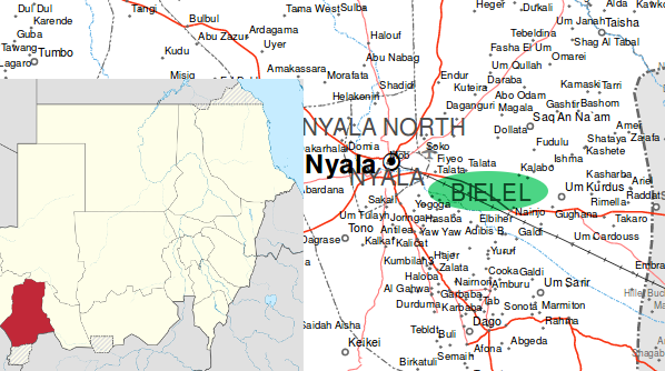 Bielel in South Darfur (OCHA administrative map, Wikimedia Commons)