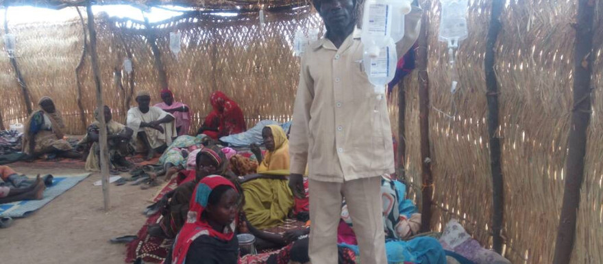 'Watery diarrhoea' patients in the makeshift isolation unit in Kuweila village in western Jebel Marra, February 21, 2018 (RD)