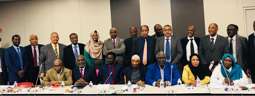 The delegates of the Sudan Call Forces at the conclusion of the meetings in Paris (RD)
