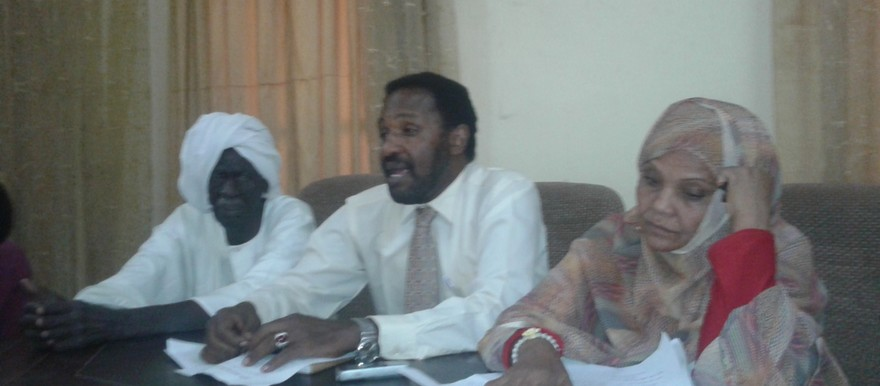 Representatives of the Sudanese Solidarity Committee with Detainees at address a press conference in Khartoum on Monday