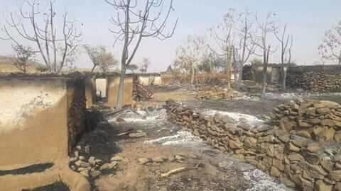 Village burned in recent Jebel Marra attacks. The villagers have fled into the mountains (RD)