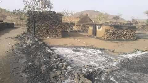 The devastation at Feina village which was burned in an attack earlier this week (RD)