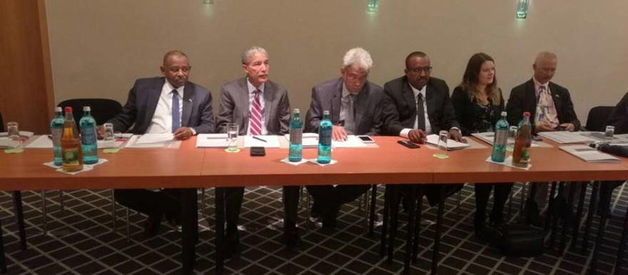 The delegation of the Sudanese government joins consultations on the peace negotiations with the SLM-MM, JEM, in the city of Berlin on 16 April 2018 (RD)