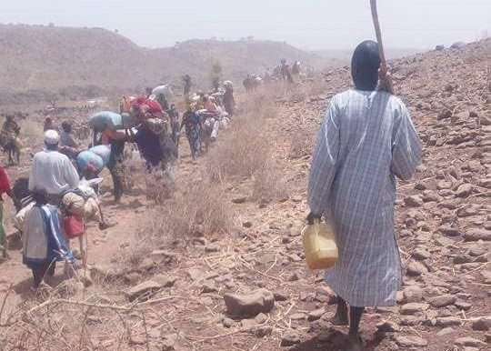 People fleeing their villages in northern Jebel Marra, April 21, 2018 (RD)